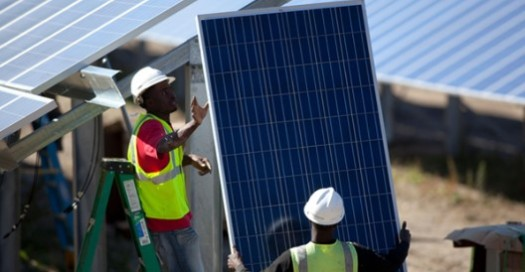 Worker with solar panel