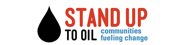Stand Up to Oil. Communities fueling change. Large Oil Droplet.