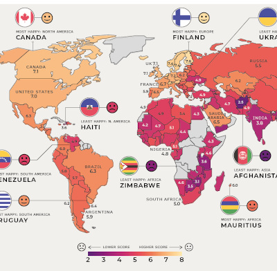 The Happiest Countries in the World in 2021. Color world map.