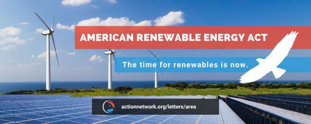 The American Renewable Energy Act (AREA)-Windmills and Solar background.