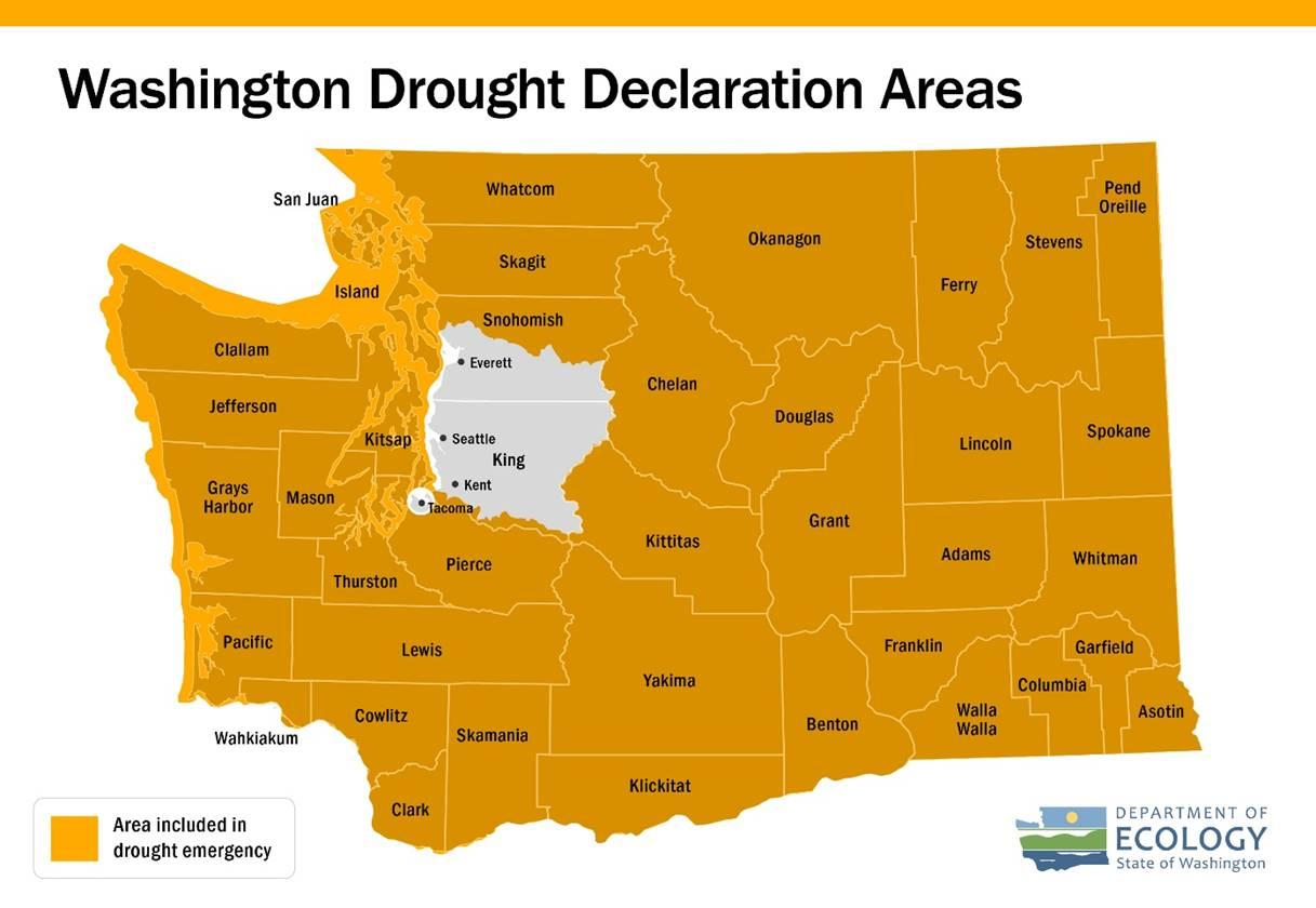 Washington Drought Declaration Areas-All except greater Seattle.