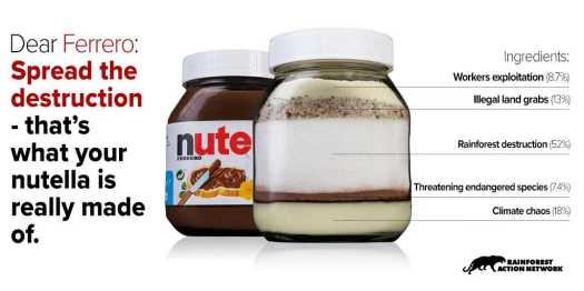 Dear Ferrero: Spread the destruction - that's what your nutella is really made of.