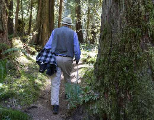 Man walking in the woods.