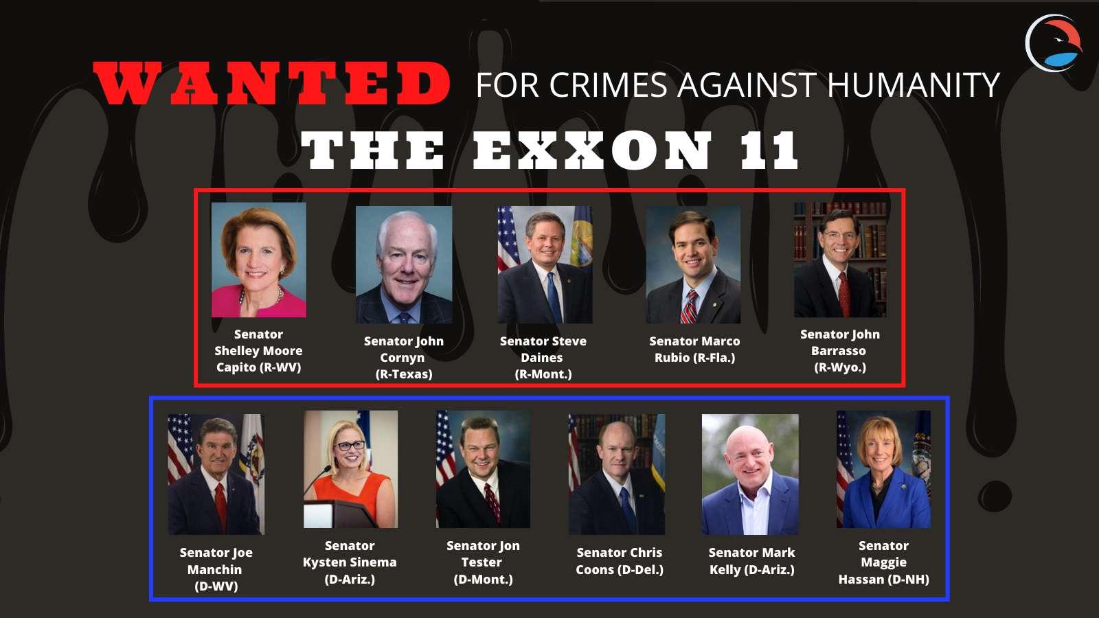 Wanted for crimes against humanity-The Exon 11 -- 11 Democratic and Republican U.S. Senators