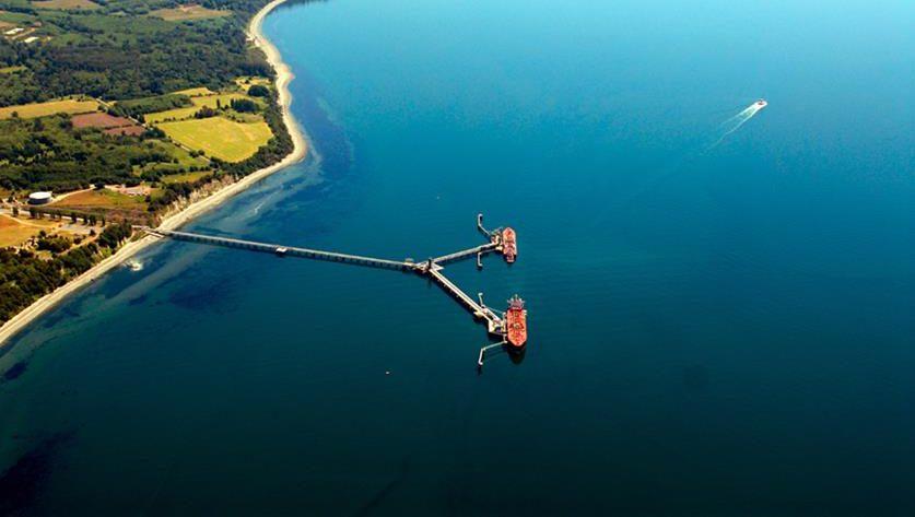 Aerial photo of Cherry Point Oil Refinery docks in Whatcom County, WA.