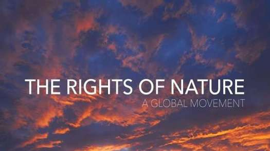 The Rights of Nature: A Global Movement - Title over sunset clouds.