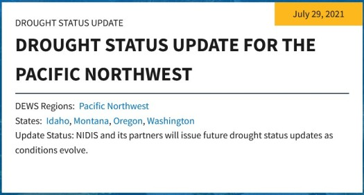 Drought Status Update for the Pacific Northwest
