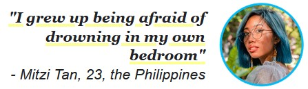 """Mitzi Tan saying, """"I grew up being afraid of drowning in my own bedroom."""""""