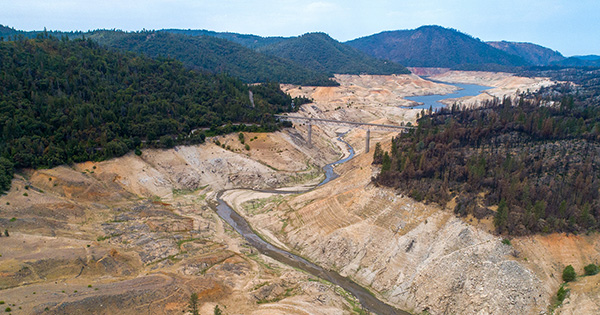 A drone view of Lake Oroville looking from the South Fork showing extremely low water under the Enterprise Bridge during a drought. Photo taken July 26, 2021.