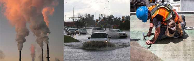 EPA collage - Smoke Stacks, Cars in Flood, Man at work outside.