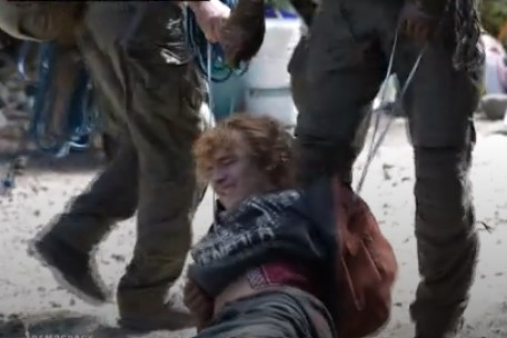 Fairy Creek Demonstration - Demonstrator being dragged by officers.