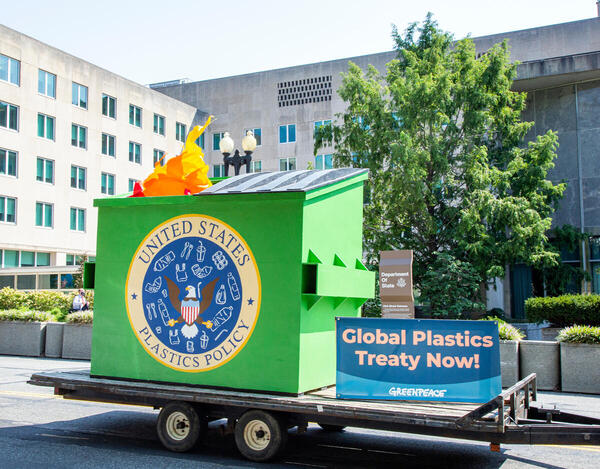 Greenpeace US tours Washington, D.C. with a flaming dumpster to demand President Biden act on tackling our plastic crisis at home and endorse a Global Plastics Treaty NOW. The flaming dumpster visits the State Department.