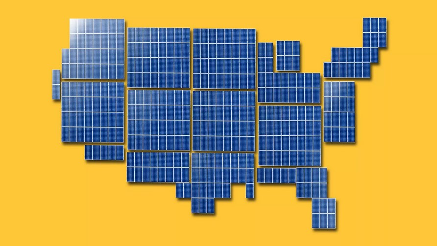 U.S. map made from solar panels.
