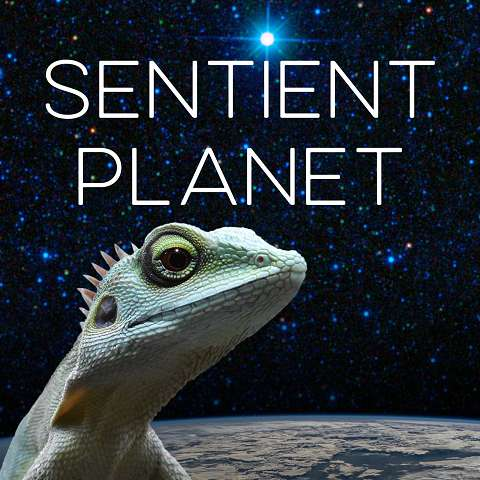 Sentient Planet - A green lizard with earth and space as backtground.