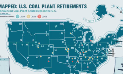 Road to Decarbonization: U.S. Coal Plant Closures - U.S. Map with plants marked.